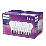 Philips LED A60 B22 Bayonet Cap Bulbs, Frosted Bulbs, 5.5 W (40 W) - Warm White, Pack of 6