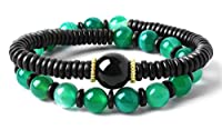 Bella.Vida Womens 8mm Green Banded Agate Buddhdist Prayer Beads Healing Energy Mala Bracelet Chakra Jewelry For Meditation 7""