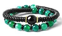 "Bella.Vida Womens 8mm Green Banded Agate Buddhdist Prayer Beads Healing Energy Mala Bracelet Chakra Jewelry For Meditation 7"""