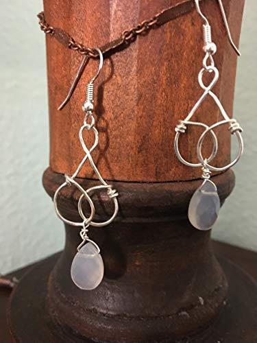 Sterling silver Art Nouveau shaped drop earrings with blue chalcedony briolette drop
