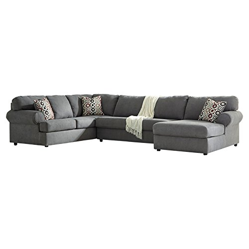 - Ashley Furniture Signature Design - Jayceon Contemporary 3-Piece Sectional - Right Arm Facing Corner Chaise, Armless Loveseat, and Left Arm Facing Sofa - Steel