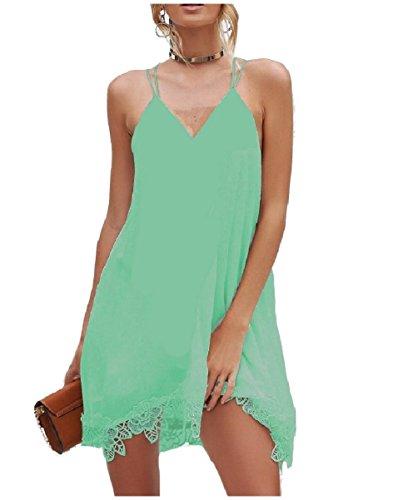 Larghi Chiffon Verde Mini Backless Solido Collo Coolred V Corti donne Abiti OFnqFcrw5