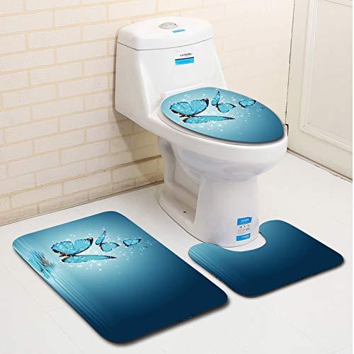 Rutschfeste Teppich Weiche Matte Badteppiche, Schmetterlinge Muster Badezimmerteppich Set Badematte + WC-Matte + U-förmige Matte, 3er Set