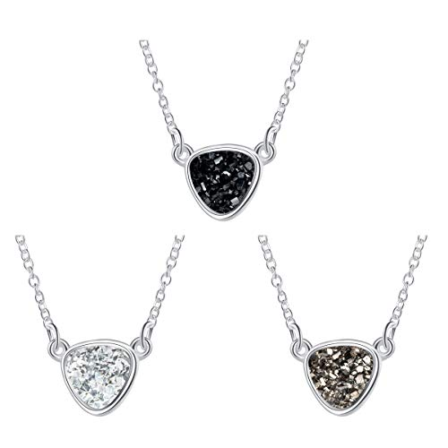 MissNity Colorful Faux Druzy Jewelry Set Drusy Necklace Silver Plated Triangle Pendant Christmas Women's Gift for Her (F1-Silver+Black/Gray/White)