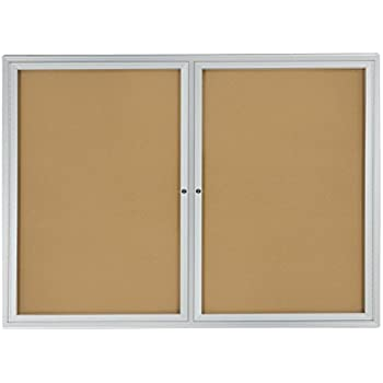 Displays2go 48 x 36 Inches Enclosed Bulletin Board for Wall Mount with 2 Locking Swing-