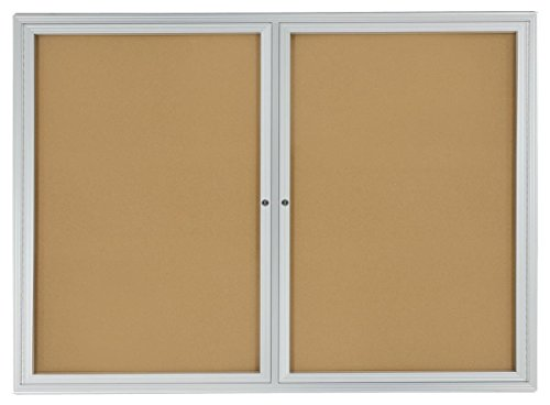 Enclosed Cork Board (Displays2go 48 x 36 Inches Enclosed Bulletin Board for Wall Mount with 2 Locking Swing-Open Doors)