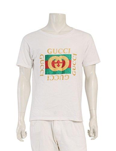 (グッチ) GUCCI グッチ グリッター ロゴ プリント Tシャツ コットン 白 493117 中古 B07F117RHT  -