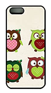 Protective PC Case Skin for iphone 5 Black Fashion Plastic Case Back Cover Shell for iphone 5S with Cartoon Owl