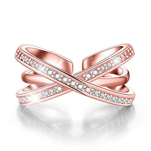 Madeone ✦18K White Gold Plating Excellent Diamond Level Cubic Zirconia CZ Stone Twisted Vine/Triple X Adjustable Ring for Women with Box Packing (Triple X Crisscross-Rose Gold)