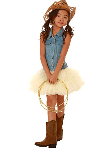 Cowgirl Tutu - Ooh! La La! Couture Denim Shirt Dress w/ Skirt (12 Months, Champagne)