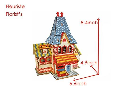 HorBous Wood Florist Puzzle 3d Woodcraft Construction Jouet Bb en Bois Jouet en Bois Maison 3d