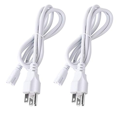 4 Foot Connector Power Cord for T5 T8 Integrated LED Light Tube Fixture, AC 110-250V Input, 3 Prongs US Plug - 2 Pack ()