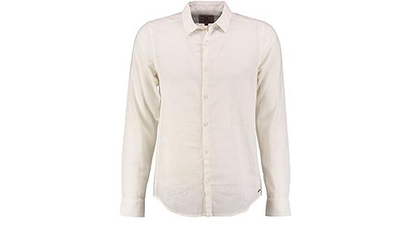 Camisa Garcia de Corte Ajustado, 55% Lino, Talla pequeña, Color Blanco Blanco L: Amazon.es: Ropa y accesorios