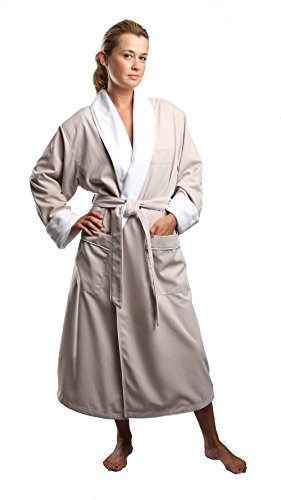 Monarch/Cypress Unisex Terry Lined Microfiber Robe X-Large Stone (Mens Spa Robes)