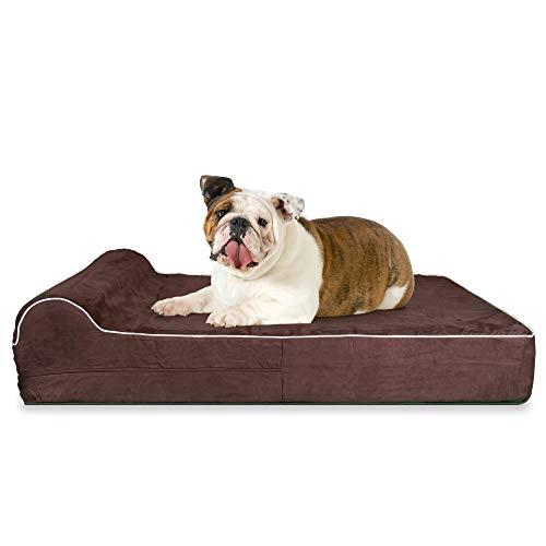 KOPEKS - Orthopedic Memory Foam Dog Bed With Pillow and Waterproof Liner & Anti-Slip Bottom - Large - Brown