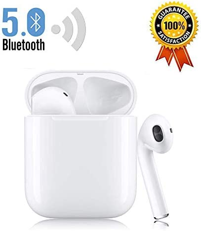 Bluetooth 5.0 Wireless Earbuds Headsets Bluetooth Headphones 24Hrs Charging Case IPX5 Waterproof 3D Stereo Pop-ups Auto Pairing Fast Charging