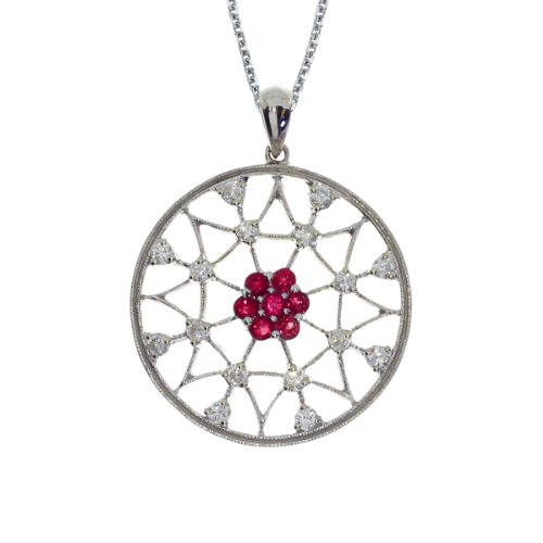 0.42 Carat (ctw) 14k White Gold Round Red Ruby and Diamond Women's Circle Filigree Spiderweb Pendant with 18