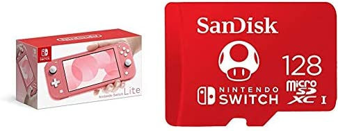 Nintendo Switch Lite - Coral with SanDisk 128GB MicroSDXC UHS-I Card for Nintendo Switch