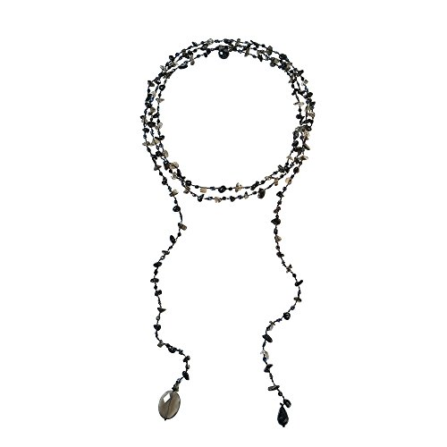 AeraVida Sparkling Aura Reconstructed Black Agate-Smokey Glass Lariat Necklace