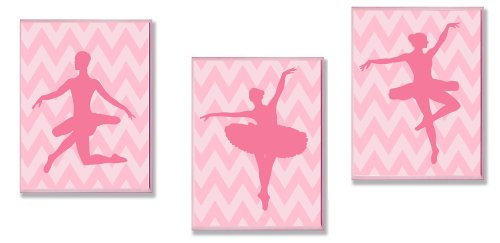 The Kids Room by Stupell Pink Ballerina Silhouettes On Pink Chevron 3-Pc. Rectangle Wall Plaque Set, 11 x 0.5 x 15, Proudly Made in USA by The Kids Room by Stupell (Image #1)