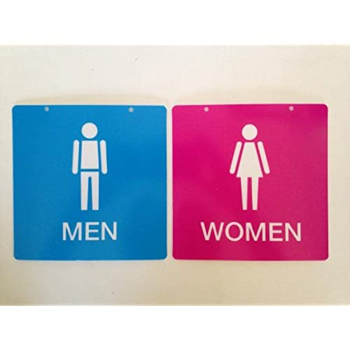 1 x cute pink and blue men and women restroom signs - Womens Bathroom