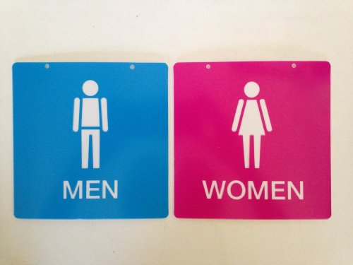 1 X Cute Pink and Blue Men and Women Restroom Signs
