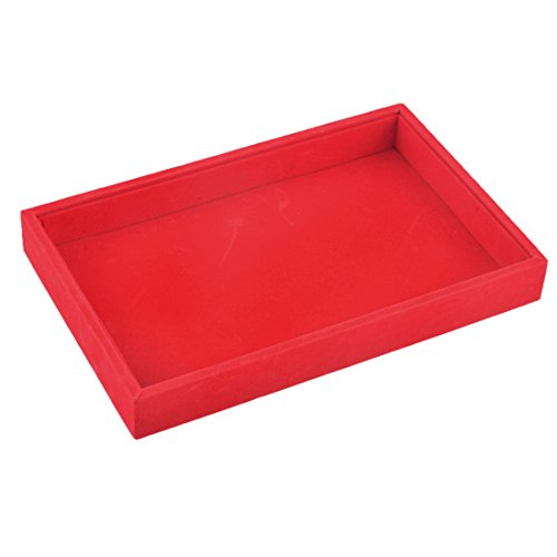 Hoomall Velvet Ring Earring Tray Showcase Display Organizer Empty Box Red