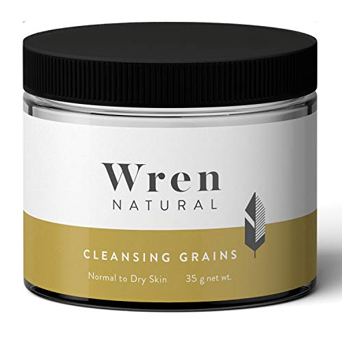 Wren Natural Face Wash Cleanser Grains with Organic Ingredients, 2 oz Glass Jar & Small Wooden Spoon