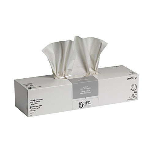 Pacific Blue Basic AccuWipe Disposable 3-Ply Delicate Task Recycled Wiper by GP PRO (Georgia-Pacific), 29778/03, White (Case of 20 Boxes, 70 Wipers per Box)