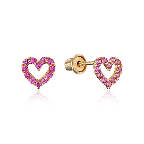 14k Yellow Gold Pink Oct Heart Cubic Zirconia Children Screwback Baby Girls Earrings