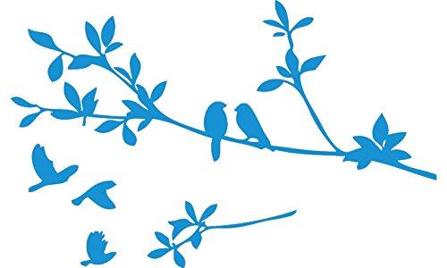 Blue 9'' X 22'' Birds Flying Tree Branches Wall Sticker Vinyl Art Decal Mural Home Decor (Wall Bird Decals Blue)
