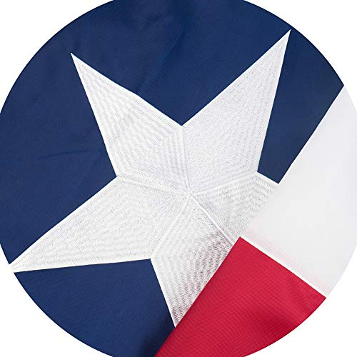 Jetlifee Texas State Flag – 3 x 5 Ft by U.S. Veterans Owned Biz. Embroidered and Sewn Flags Decorative UV Protected Flags with 2 Grommets – Long Lasting Nylon for Indoor and Outdoor 3x5 Foot ()
