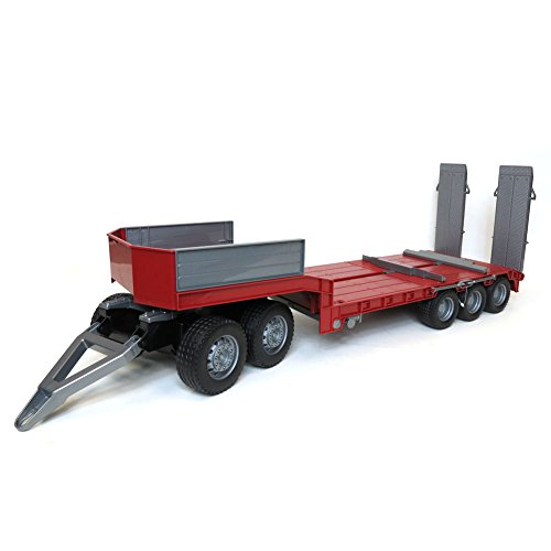 1/16 Bruder Red Tri-axle Low Loader Trailer and ()
