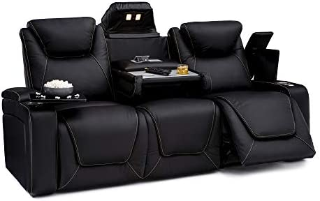 Seatcraft Vienna Home Theater Seating Leather Sofa Recline, Adjustable Headrest, Powered Lumbar Support, and Cup Holders Sofa, Black