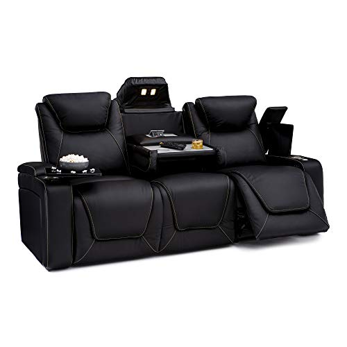 Table Sofa Leather - Seatcraft Vienna Home Theater Seating Leather Sofa Recline, Adjustable Headrest, Powered Lumbar Support, Fold-Down Table, and Cup Holders, Black
