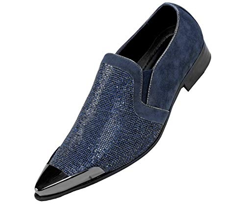 Bolano Rhinestone Embellished Vamp & Faux Suede Trim with Metal Tip Smoking Shoe Style Dezzy, Runs Small Size 1/2 Size UP Navy