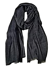 GERINLY Men Scarves Twill Cotton-Linen Long Winter Scarf (Black)