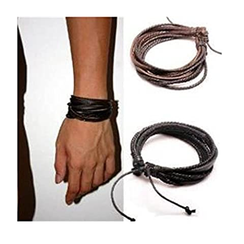 Coolla Adjustable Black & Brown Leather Wristband and Rope Cuff Bracelet, 18cm, 2-Pack (Necklace For Men Cool)