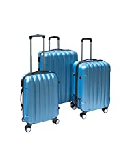 ALEKO® 3 Piece Luggage Travel Bag Set ABS Suitcase With Lock, Blue Color