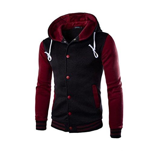 Shoulder Trench - Paymenow Men's Coat Plus Size Slim Fit Patchwork Button Jacket Warm Hooded Sweatshirt (Wine Red, XXXXXL)