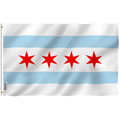 Anley Fly Breeze 3x5 Foot City of Chicago Flag - Vivid Color and UV Fade Resistant - Canvas Header and Double Stitched - Chicago IL Flags Polyester with Brass Grommets 3 X 5 Ft