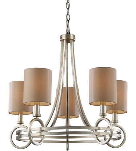Chandeliers 5 Light with Renaissance Silver Leaf Finish Candelabra 24 inch 300 Watts - World of Lamp