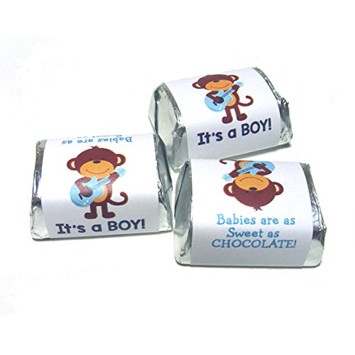 120 Rock Star Monkey It's a Boy Baby Shower Nugget Sticker Party Favors