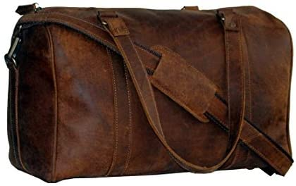 Men Vintage CRAZY HORSE Leather canvas lightweight Handbags duffle weekend bag