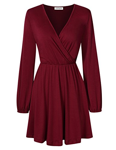 Leadingstar Women Long Sleeve V-Neck Elastic Waist Wrap Solid Fit and Flare Mini Dress Burgundy (Cotton Long Sleeve Wrap)