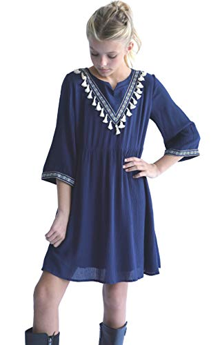 Smukke, Big Girls Beautiful Dresses with Tassel Detail (with Options), 7-16 (Navy White, 10)]()