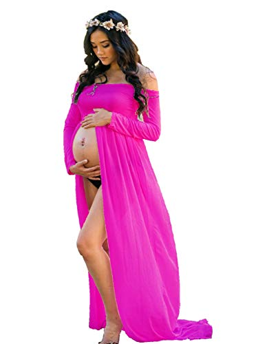 (ZIUMUDY Maternity Maxi Chiffon Photography Dress Split Front Gown for Photoshoot (Rose))