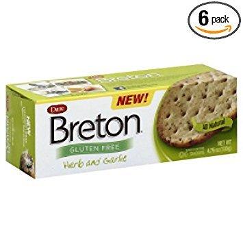 Breton Herb & Garlic Crackers, Gluten Free 4.76 Oz (Pack of 6) by Breton