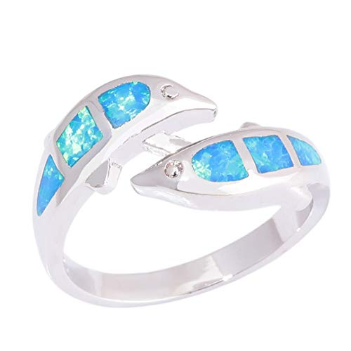- MARRLY.H Created Blue Fire Opal Silver Plated Dolphin Sell for Women Jewelry Ring Blue 9