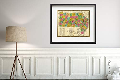 - 1831 Map of Pennsylvania, New Jersey, and Delaware Historic Antique Vintage Reprint Size: 20x24 Ready to Frame